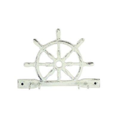 Cast Iron Ship Wheel Wall Hook Finish: Whitewashed
