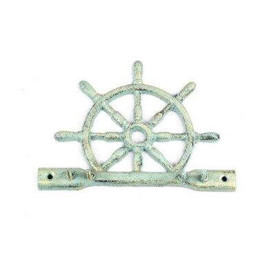 Cast Iron Ship Wheel Wall Hook Finish: Antique Bronze