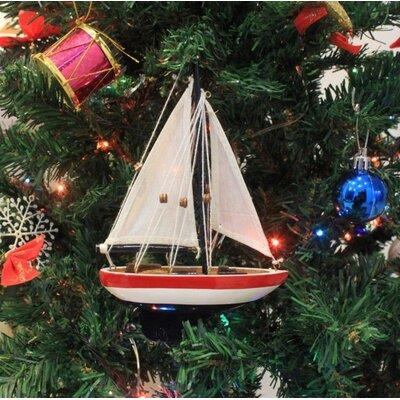 "9"" Wooden USA Sailboat Model Christmas Tree Ornament"