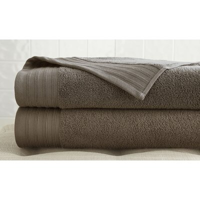 2 Piece 100% Cotton Bath Towel Set Color: Mocha