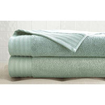 2 Piece 100% Cotton Bath Towel Set Color: Soft Jade