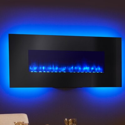 Linear Wall Mounted Electric Fireplace Finish: Black