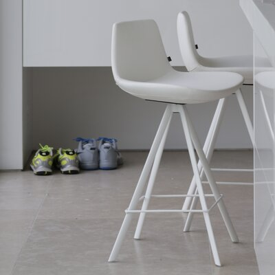 "Fechteler 24"" Swivel Bar Stool Upholstery: White"
