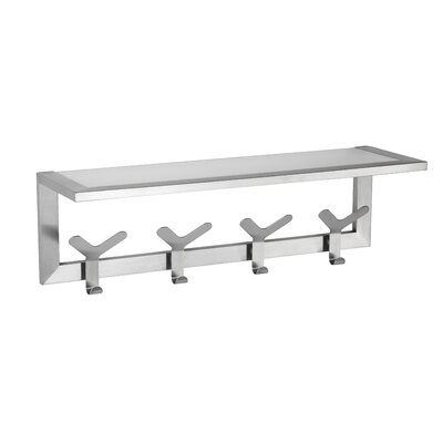 Milton Coat and Hat Wall Mounted Coat Rack with Glass Shelf