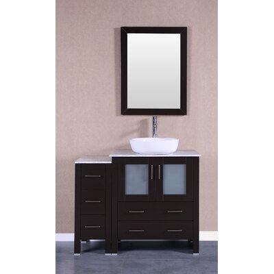 "Bruno 42"" Single Bathroom Vanity Set with Mirror Base Finish: Espresso"