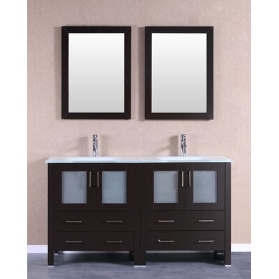 "Crater 59"" Double Bathroom Vanity Set with Mirror Base Finish: Espresso"
