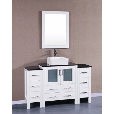 "Rochelle 54"" Single Bathroom Vanity Set with Mirror Base Finish: White"