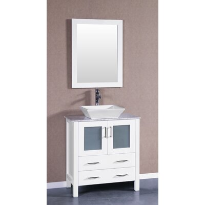 "Boswell 30"" Single Bathroom Vanity Set with Mirror Base Finish: White"