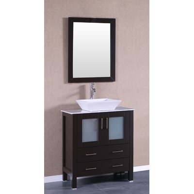 "Boswell 30"" Single Bathroom Vanity Set with Mirror Base Finish: Espresso"