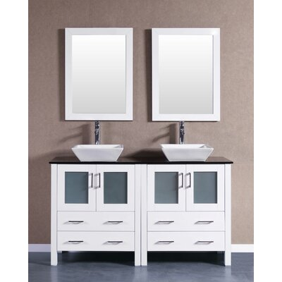 "59"" Double Bathroom Vanity Set with Mirror Base Finish: White"
