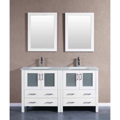 "Crater 59"" Double Bathroom Vanity Set with Mirror Base Finish: White"