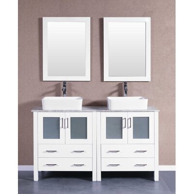 "Arnette 59"" Double Bathroom Vanity Set with Mirror Base Finish: White"