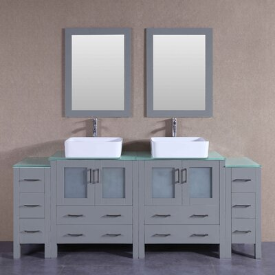 "Katherine 84"" Double Bathroom Vanity Set with Mirror"
