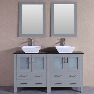 "Annabel 59"" Double Bathroom Vanity Set with Mirror"