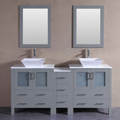 "Jude 71"" Double Bathroom Vanity Set with Mirror"