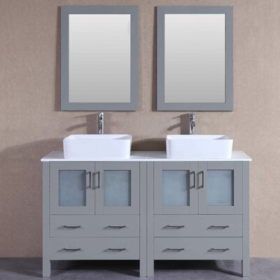"Tiffany 59"" Double Bathroom Vanity Set with Mirror"