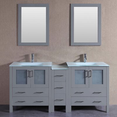"Levi 71"" Double Bathroom Vanity Set with Mirror"