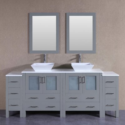 "Amelia 84"" Double Bathroom Vanity Set with Mirror"