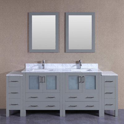 "Beverly 84"" Double Bathroom Vanity Set with Mirror"