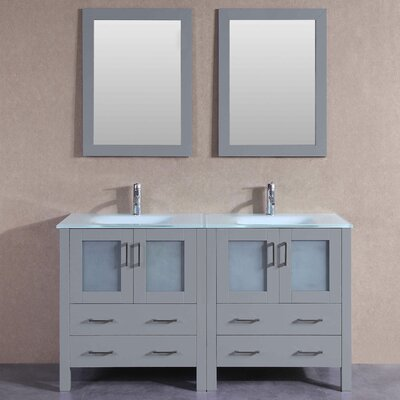 "Victoria 59"" Double Bathroom Vanity Set with Mirror"
