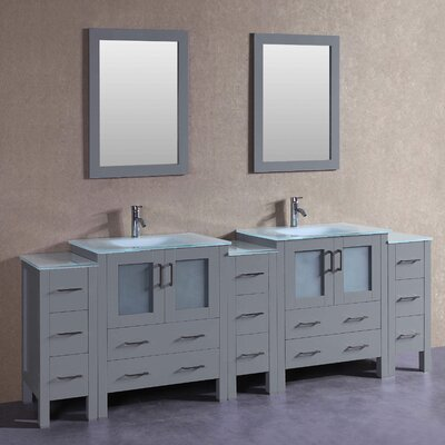 "Paige 96"" Double Bathroom Vanity Set with Mirror"