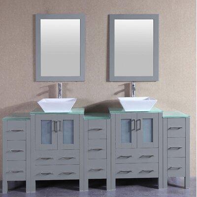 "Fran 84"" Double Bathroom Vanity Set with Mirror"