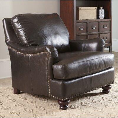 Montgomery Leather Club Chair Body Fabric: Durango Strawberry, Nailhead Detail: Pewter