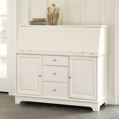 Reddick Secretary Desk with Hutch Color: White