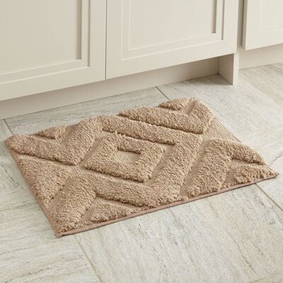"Alicia Bath Mat Size: 17"" x 24"", Color: Taupe"