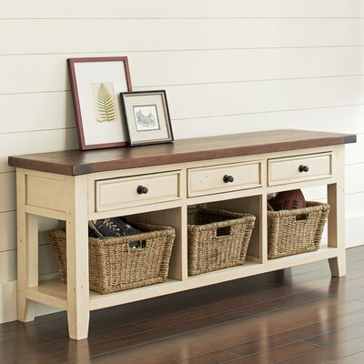 Whitaker Wood Storage Bench Color: Country White/Oxford