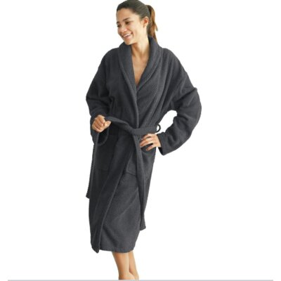 Winchester Monogrammed Bathrobe Size: Robe, Color: Pewter