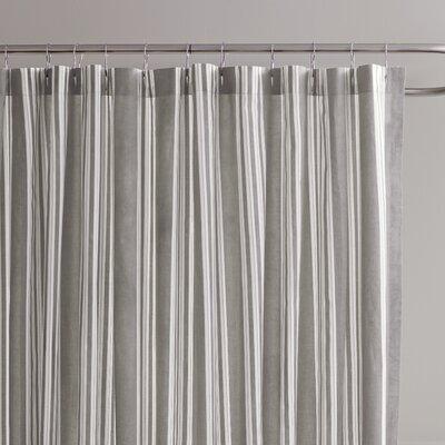 Daria Striped Cotton Shower Curtain Color: Stone