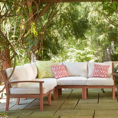Rossi Patio Sectional with Cushions Fabric: White