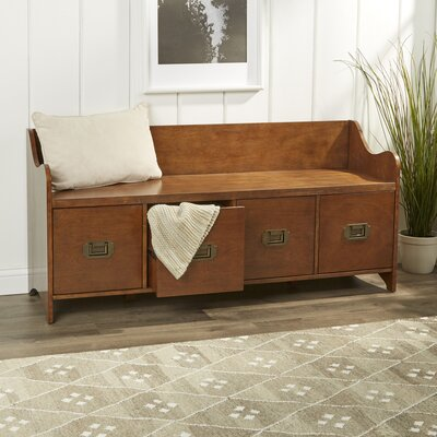 Edwards 4-Drawer Storage Bench Color: Maple
