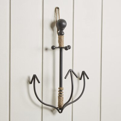 Metal and Rope Anchor Hook Color: Black