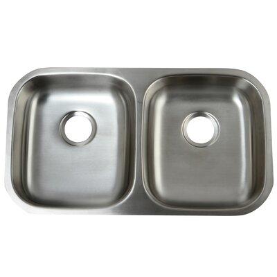 "Loft 32.25"" L x 18.5"" W Undermount 18 Gauge ADA Compliant Double Bowl Kitchen Sink"