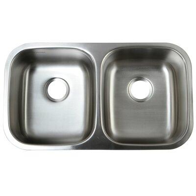 "Loft 32.25"" L x 18.5"" W Undermount 18 Gauge Double Bowl Kitchen Sink"