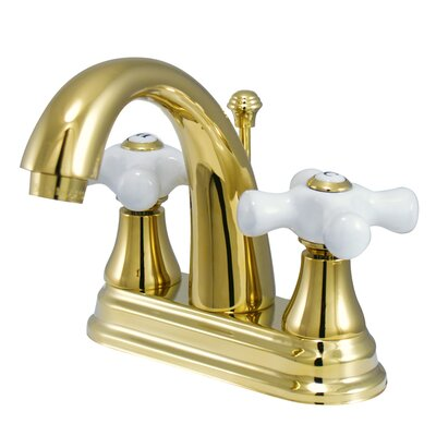 English Vintage Centerset Bathroom Faucet with Pop-Up Drain Finish: Brass