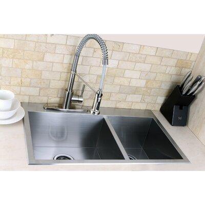 "Uptowne 31.5"" L x 20.5"" W Self-Rimming 70/30 Offset Double Bowl Kitchen Sink"