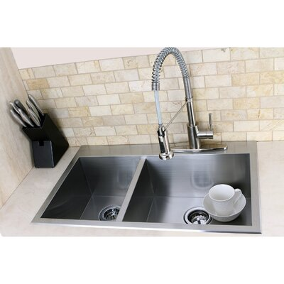 "Uptowne 31.5"" L x 20.5"" W Self-Rimming 60/40 Offset Double Bowl Kitchen Sink"