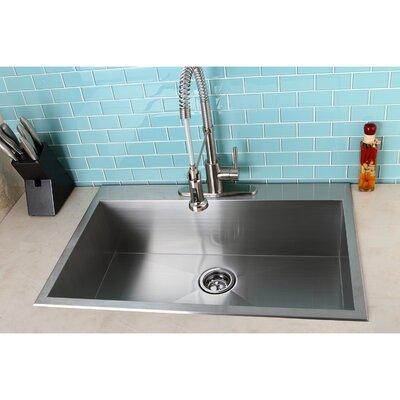 "Uptowne 33"" L x 22"" W Self-Rimming Single Bowl Kitchen Sink"