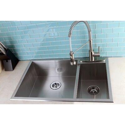 "Uptowne 33"" L x 22"" W Self-Rimming 70/30 Double Bowl Kitchen Sink"