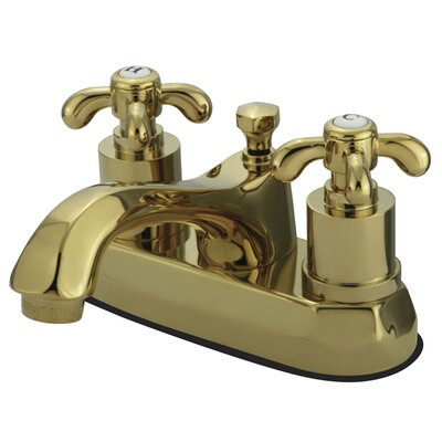 French Country Centerset Bathroom Faucet with Pop-Up Drain Finish: Polished Brass