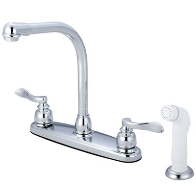 Kingston Brass NuWave French Double Handle Centerset High-Arch Kitchen Faucet with White Spray