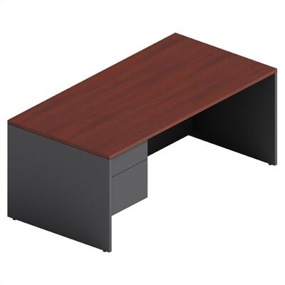 Adaptabilities Shell Executive Desk Laminate: Avant Cherry/Storm Grey, Drawers: Left