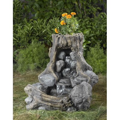 Resin/Fiberglass Wood and Rock Fountain