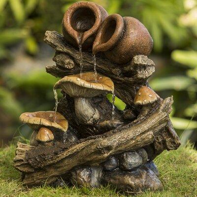 Pot on Wood Stump Water Fountain