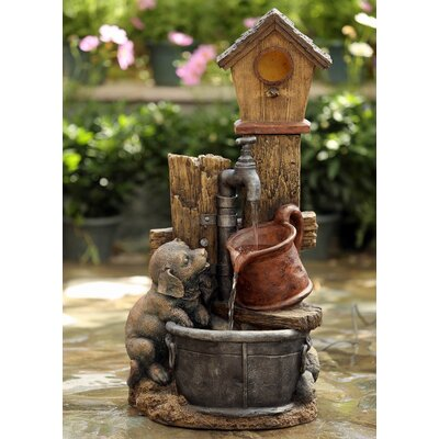 Resin/Fiberglass Birdhouse and Dog Water Fountain