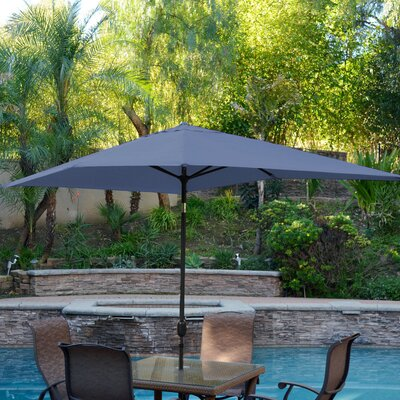 10' X 6.5' Rectangular Market Umbrella Frame Finish: Bronze, Fabric Color: Tan