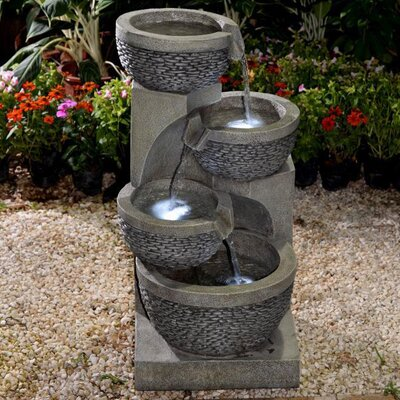 Resin/Fiberglass Multi Tier Bowls Fountain with LED Light